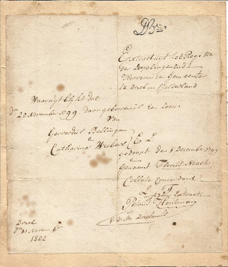 Floris Noach 1799 Birth Certificate